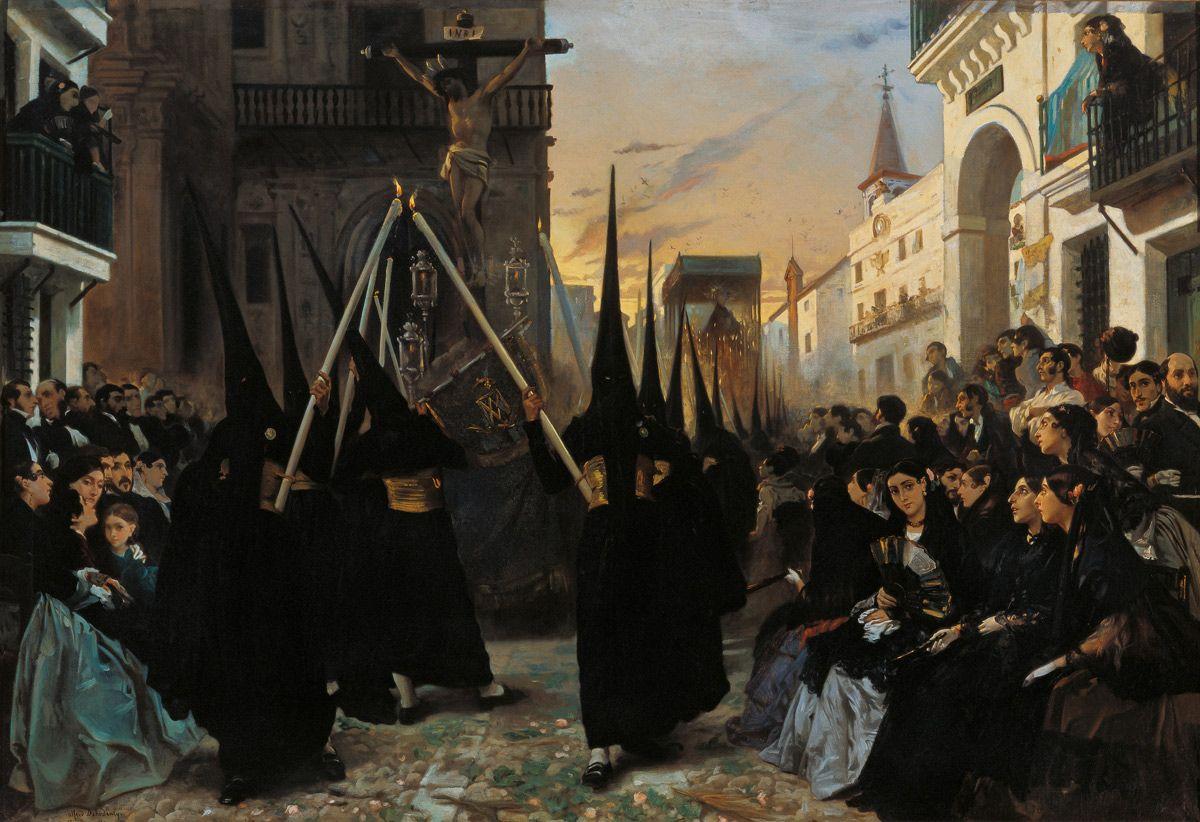 """""""Una cofradía pasando por la calle Génova"""", por Alfred Dehodencq, Sevilla, 1851, Museo Carmen Thyssen Málaga."""