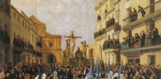 """""""La cofradía de Montserrat por la calle Génova"""", por Manuel Cabral Bejarano, Sevilla, 1862, Real Alcázar de Sevilla."""