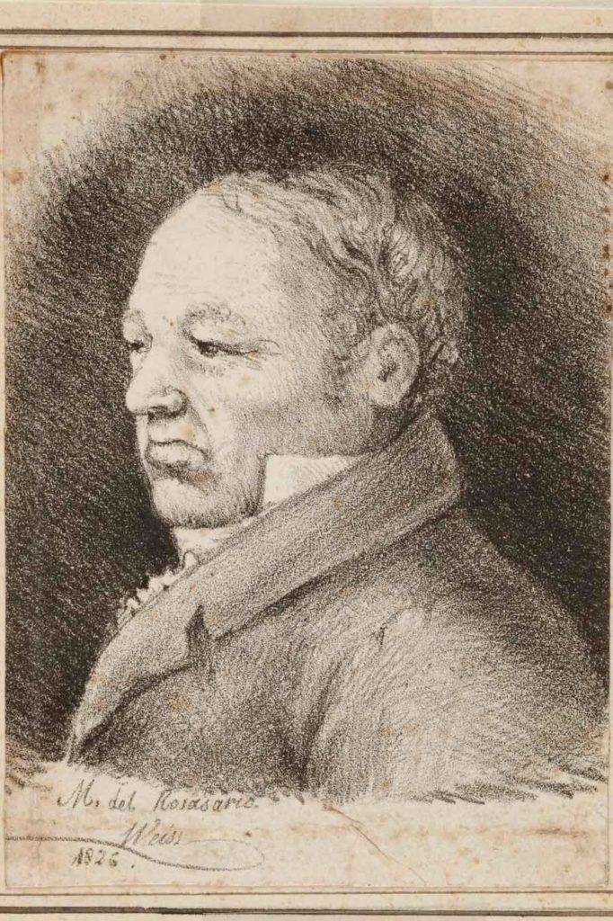 """""""Retrato de Goya"""", por Rosario Weiss, Burdeos, 1826, lápiz negro sobre papel, Madrid, Museo Lázaro Galdiano."""