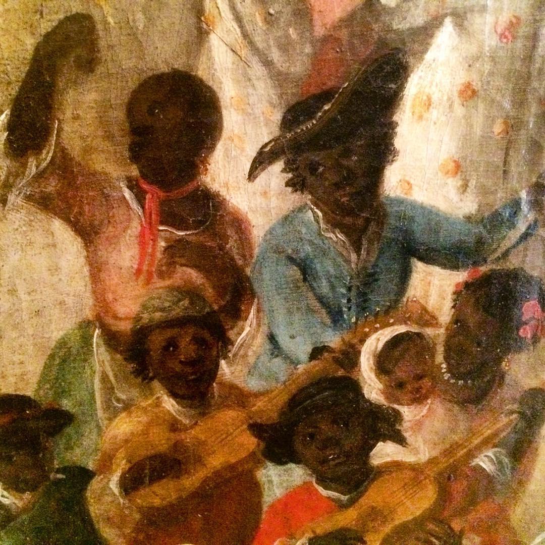 Negros sevillanos bailando en las fiestas de la proclamación de Fernando VI.
