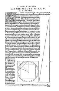 """""""Ta mechri nun sozomena apanta"""", Arquímedes. Basileae: Ioannes Heruagius excudi fecit, 1544. BNE, R/3889."""