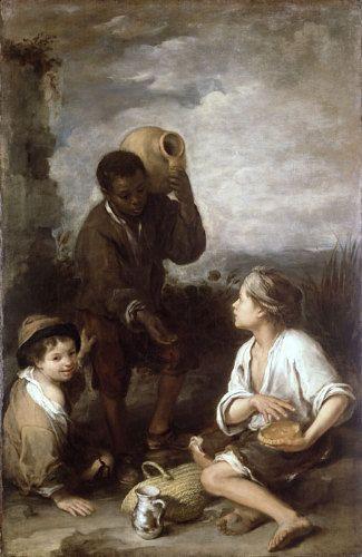 Tres niños, por Bartolomé Murillo