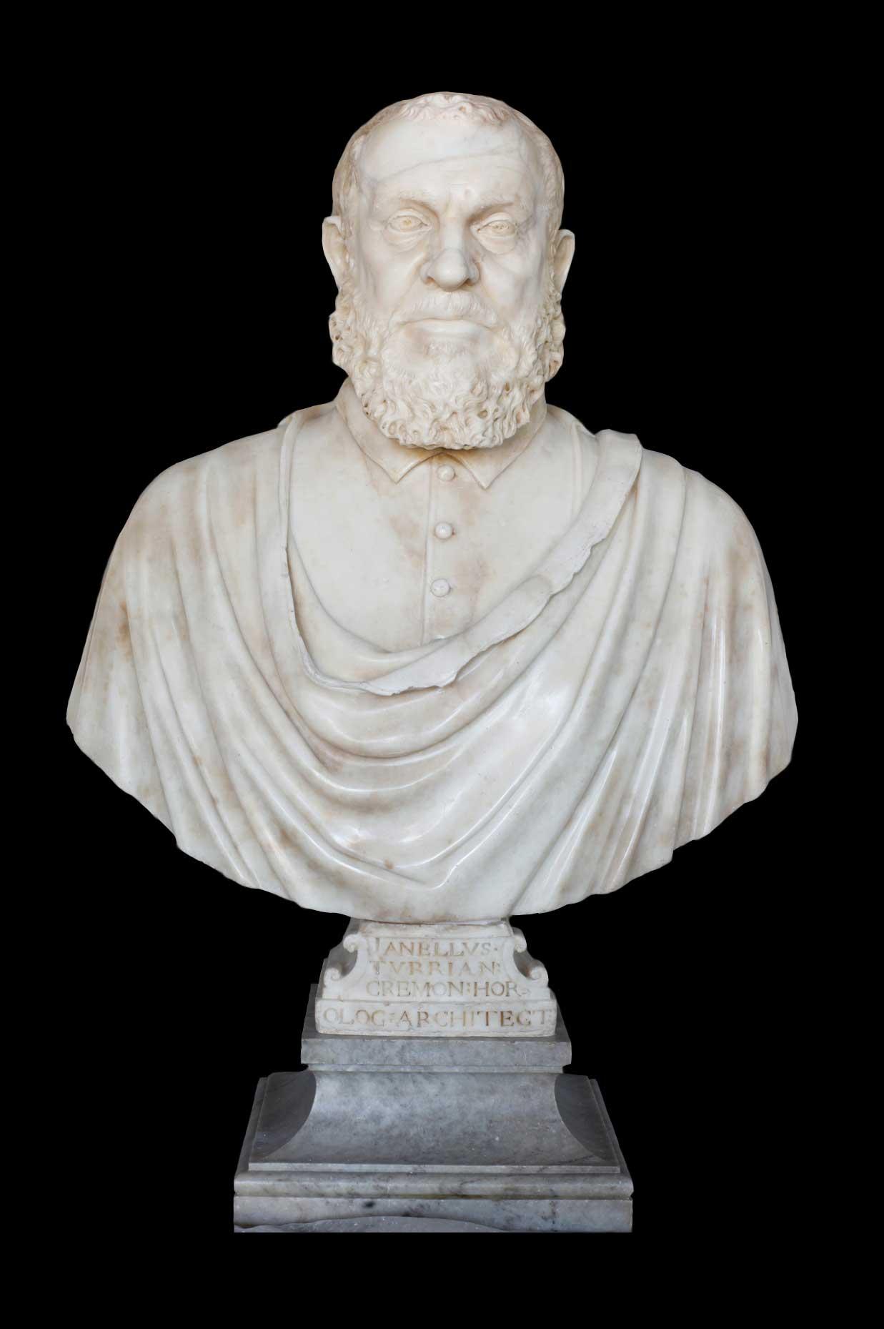 """""""Busto de Juanelo Turriano"""", Pompeo y Leone Leoni, ca. 1565-1570. Mármol de Carrara. Museo de Santa Cruz (Toledo)."""