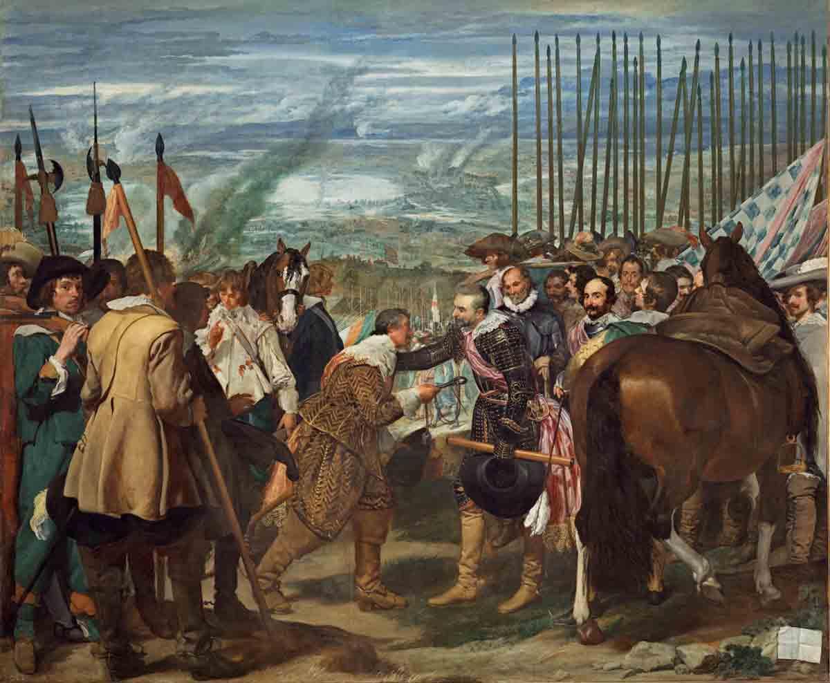 """En """"Las lanzas"""", de Velázquez, Justino de Nassau, gobernador holandés de Breda, entrega las llaves de la ciudad a Ambrosio Spínola y sus tercios, en 1625."""