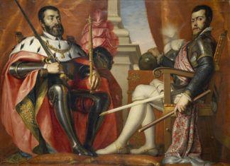 Carlos I, emperador del Sacro Imperio Romano Germánico, y Felipe II.