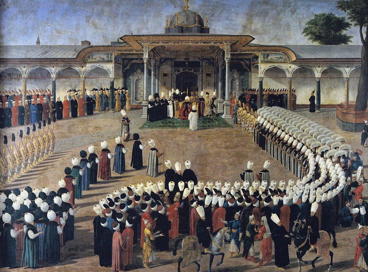 El Sultan Selim III rodeado de su corte en el palacio de Topkapi.