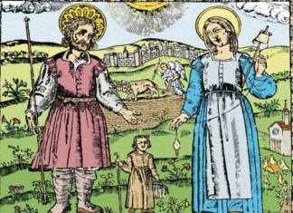San Isidro, santa María de la Cabeza y san Illan en la Ermita de la Pradera con Madrid de fondo.