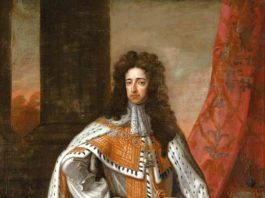 Guillermo III de Inglaterra el día de su coronación, tras el triunfo de la Revolución Gloriosa. Retrato del pintor Godfrey Kneller.