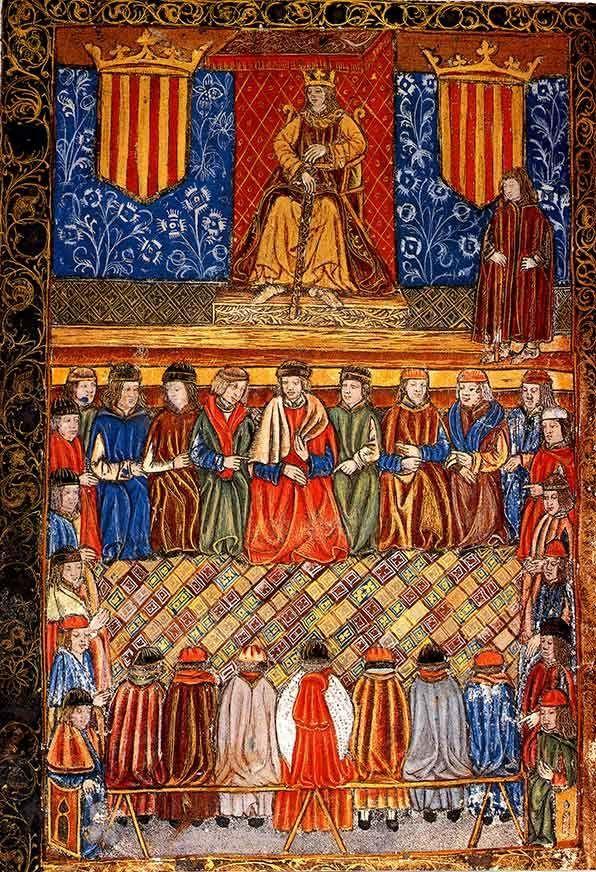 Fernando II de Aragón en su trono, enmarcado por dos escudos con el emblema del señal real. Frontis de una edición de 1495 de las