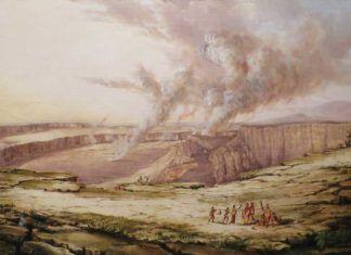 """""""El volcán Kilauea de día"""", por Titian Ramsay Peale, 1842, óleo sobre lienzo, Pauahi Bernice Bishop Museum."""