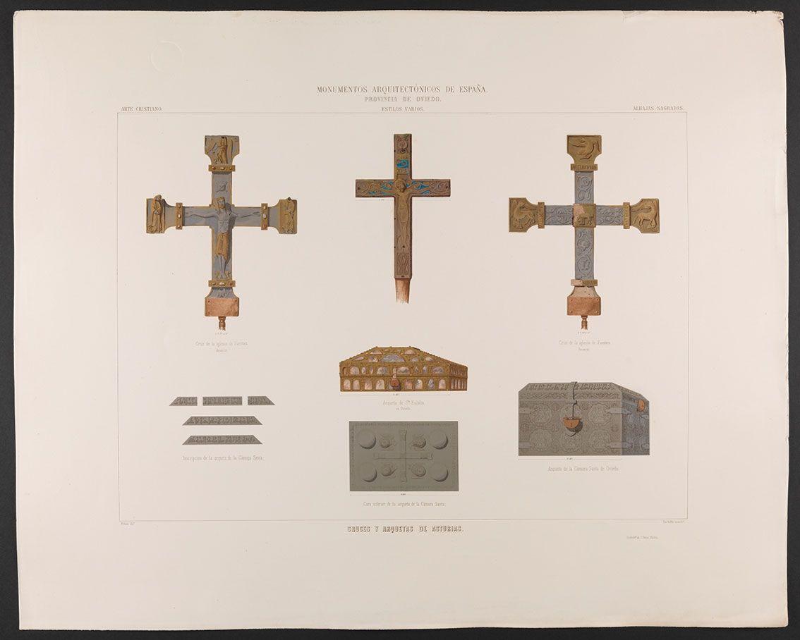 Cruces y arquetas de Asturias: cruz de la iglesia de Fuentes, y arquetas de Santa Eulalia y de la Cámara Santa, cromolitografía firmada por Teófilo Ruffle, 1858 - 1867.