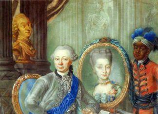 Heinrich Carl Schimmelmann en 1773, con su esposa y un esclavo doméstico.
