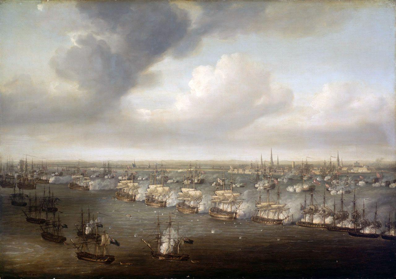 La batalla de Copenhague, en abril de 1801, por Nicholas Pocock.