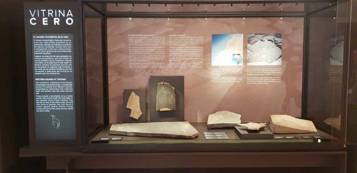 Expositor del arte rupreste en el Sahara Occidental en el Museo Arqueológico Nacional.