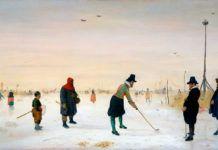 """""""Jugadores de kolf sobre el hielo"""", por Hendrick Avercamp, h. 1625, durante la pequeña edad de hielo."""