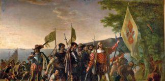 Desembarco de Cristóbal Colón en América, por John Vanderlyn, 1847.