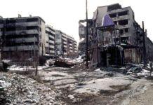 El barrio de Grbavica, en Sarajevo, durante la Guerra de Bosnia, en los años 90 del siglo XX.