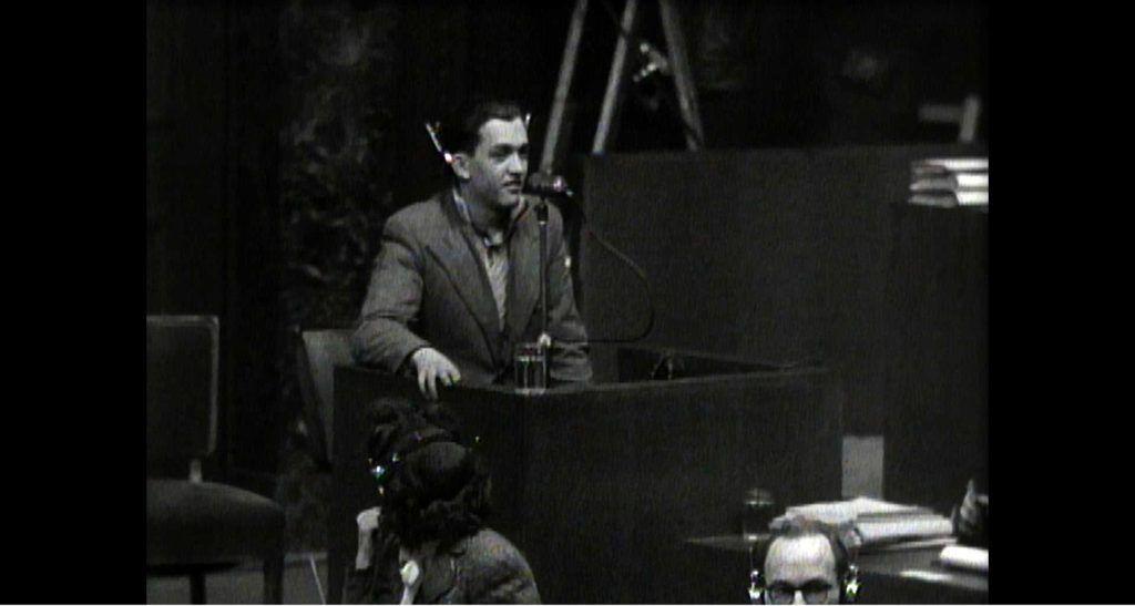 Francisco Boix, declarando en los juicios de Nuremberg.
