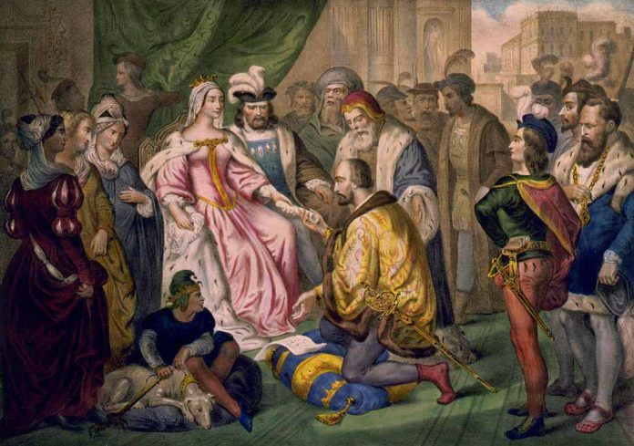 Cristóbal Colón ante los Reyes Católicos en la corte de Barcelona, en una litografía del siglo XIX.