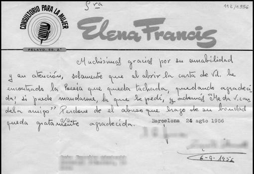Una de las cartas enviadas al consultorio de Elena Francis.