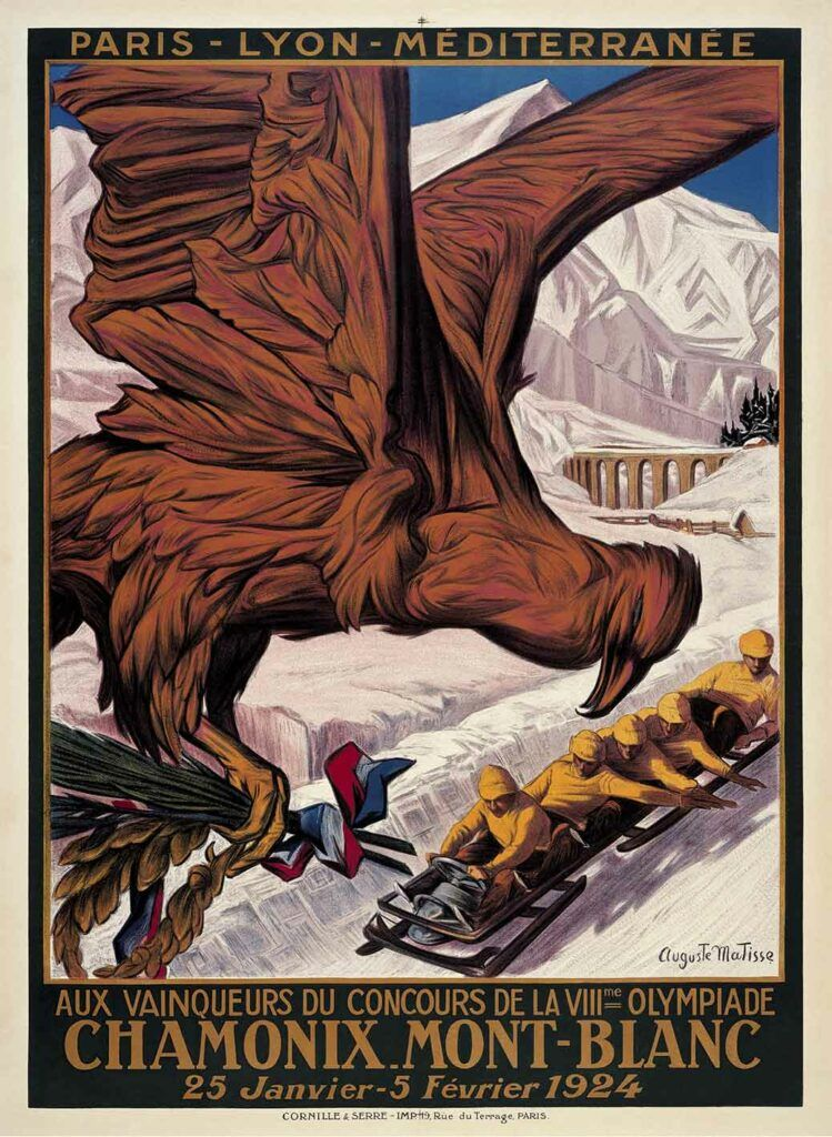 Cartel de los Juegos Olímpicos de Invierno de Chamonix (Francia), celebrados en 1924.