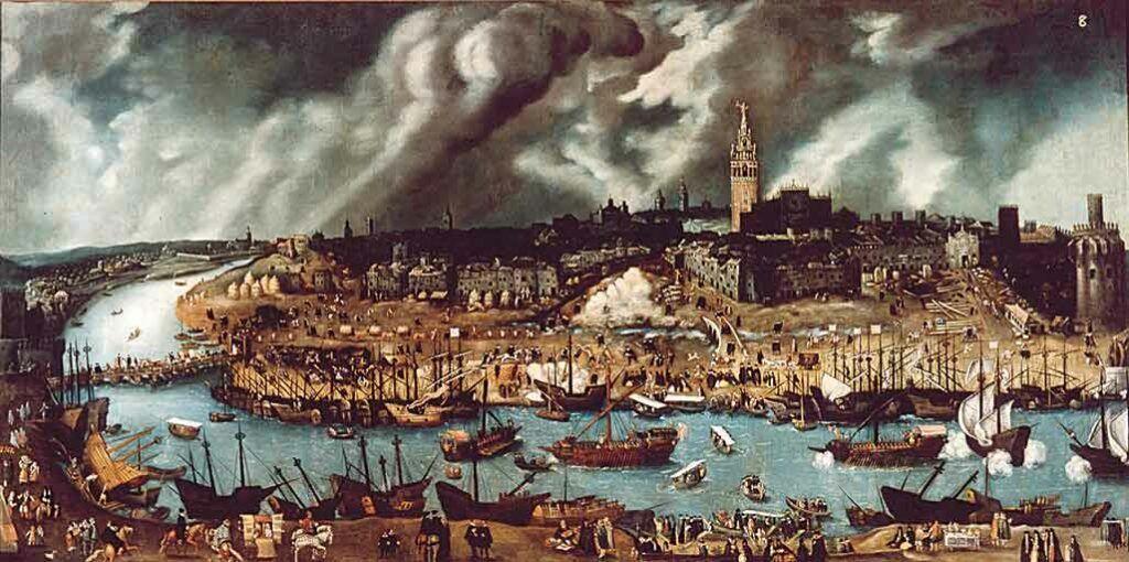 Vista general de Sevilla en 1588, por Alonso Sánchez Coello. La ciudad andaluza fue en el siglo XVI el puerto de salida hacia las Indias.