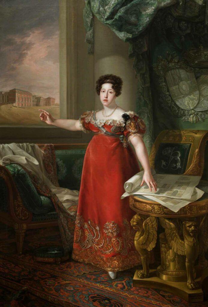 """""""María Isabel de Braganza como fundadora del Museo del Prado"""", por Bernardo López Piquer, 1829."""