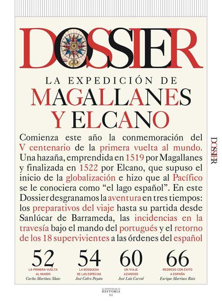 """Primera página del Dossier """"La expedición de Magallanes y Elcano. La primera vuelta al mundo"""", publicado en el número 243 de La Aventura de la Historia."""