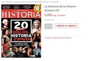 """Portada del número 241 de la revista de historia """"La Aventura de la Historia"""", conmemorativa de su vigésimo aniversario."""