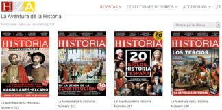 """Algunos de los ejemplares disponibles de la revista de historia """"La Aventura de la Historia""""."""