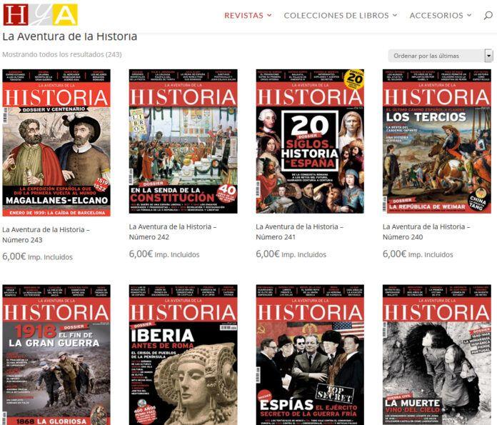 Algunos de los ejemplares disponibles de la revista de historia