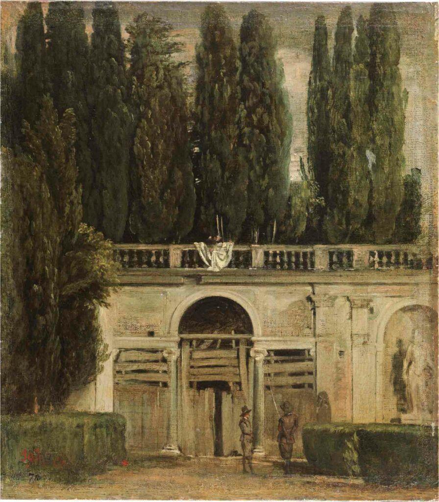 """""""Vista del jardín de la Villa Medici en Roma"""", Velázquez, hacia 1630."""
