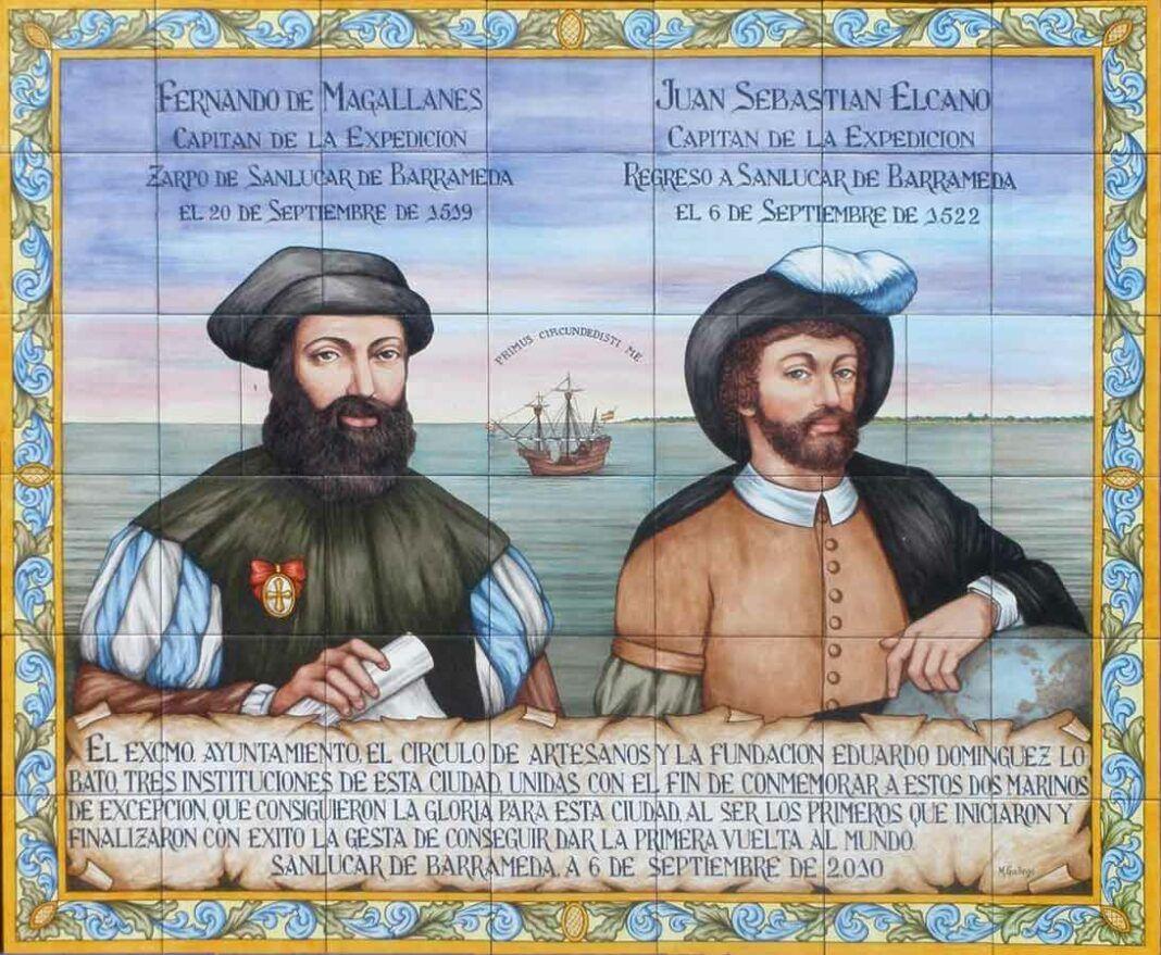 Magallanes y Elcano, en un azulejo conmemorativo en la ciudad de Sanlúcar de Barrameda (Cádiz). Sobre la nao