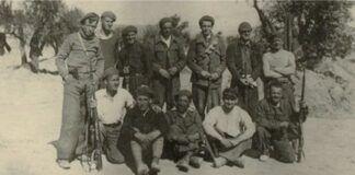 """Integrantes de la """"Brigada Lincoln"""", en el frente del Jarama, 1937."""