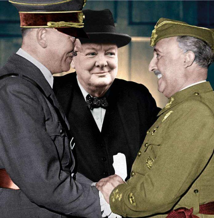 Montaje con Adolf Hitler, Winston Churchill y Francisco Franco a partir de unas de las fotografía del encuentro entre Hitler y Franco en Hendaya.