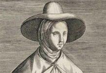 Grabado de Juliana Morell, la primera doctora en Leyes.
