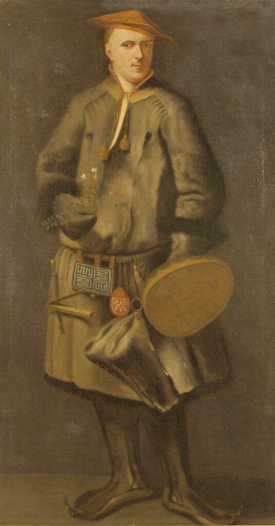 Linneo, con el traje que usaba para recolectar plantas en Laponia, por Martin Hoffman.