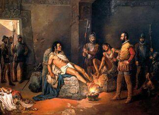 """""""El suplicio de Cuauhtémoc"""", Leandro Izaguirre (1867-1941)."""