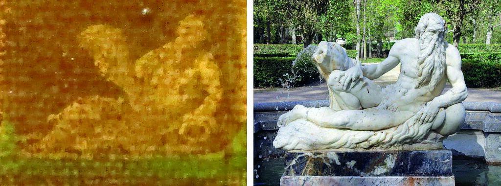 Detalle del dios de las aguas en la pintura de Félix Castello, comparado con la imagen dela escultura en laactualidad.