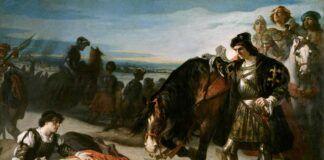 """""""El Gran Capitán contemplando el cádaver del duque de Nemours"""", por José Casado del Alisal, protagonista de la portada del número 247 de """"La Aventura de la Historia"""", dedicada a la presencia de España en Italia."""