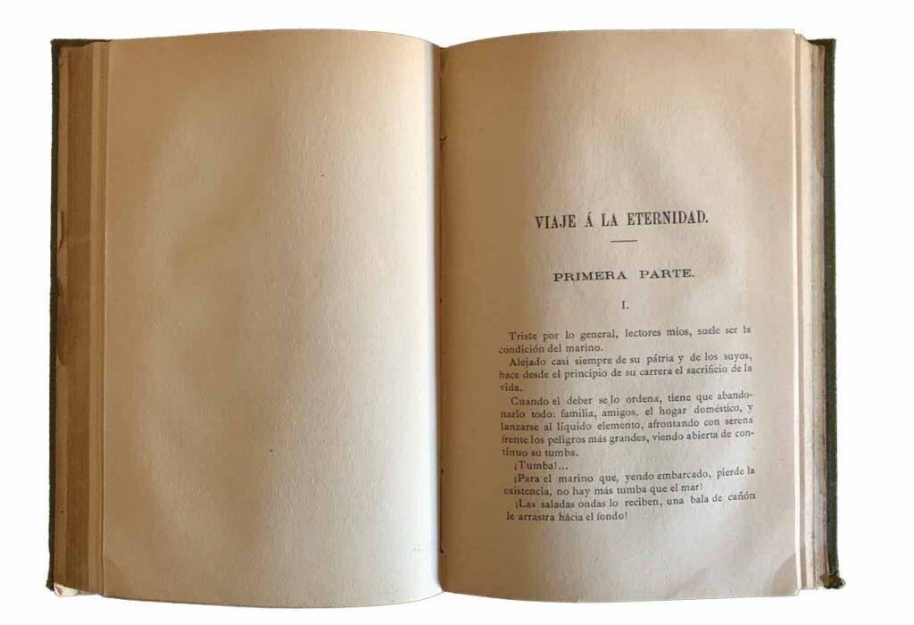 """""""Viaje a la eternidad"""", relato fantástico sobre el hundimiento del navío escrito por Antonio de San Martín en la segunda mitad del siglo XIX. Museo de San Fernando."""