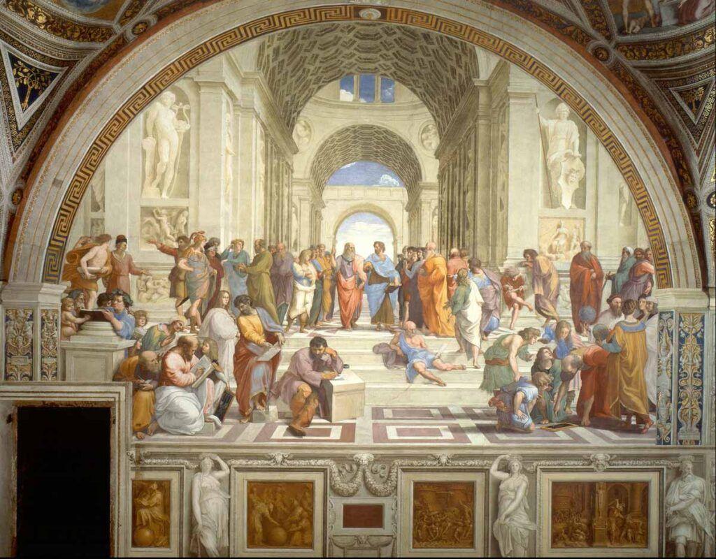 """""""La Escuela de Atenas"""", una de las pinturas más destacadas de Rafael Sanzio, es una de las obras-lugares más concurridos de los Museos Vaticanos."""