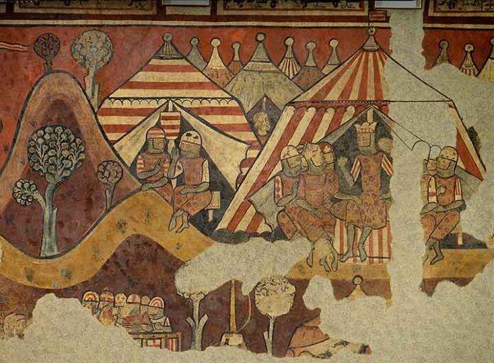 Pinturas murales de la conquista de Mallorca, maestro de la conquista de Mallorca, 1285-1290, hoy conservadas en el MNAC de Barcelona. A la derecha, el rey Jaime I conversa en su tienda con el obispo Berenguer de Palou.
