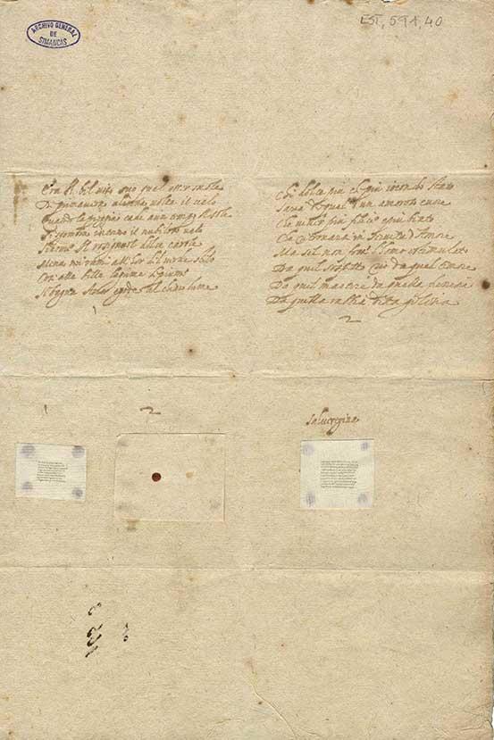 Muestras de escritura microscópica, realizadas por el italiano Carlos Fantino. Italiano y latín.