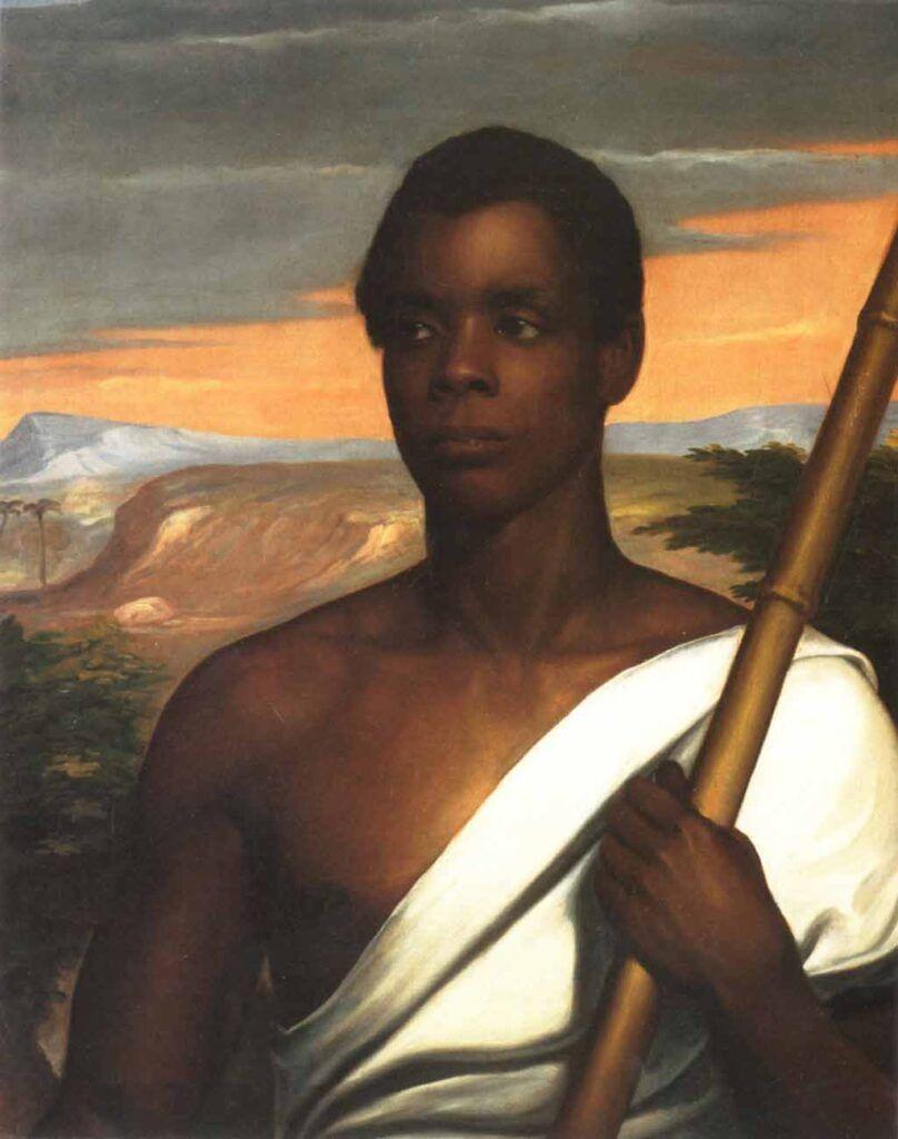 """Retrato de Joseph Cinqué, líder de la revuelta de esclavos en la goleta """"Amistad"""" en julio de 1839."""