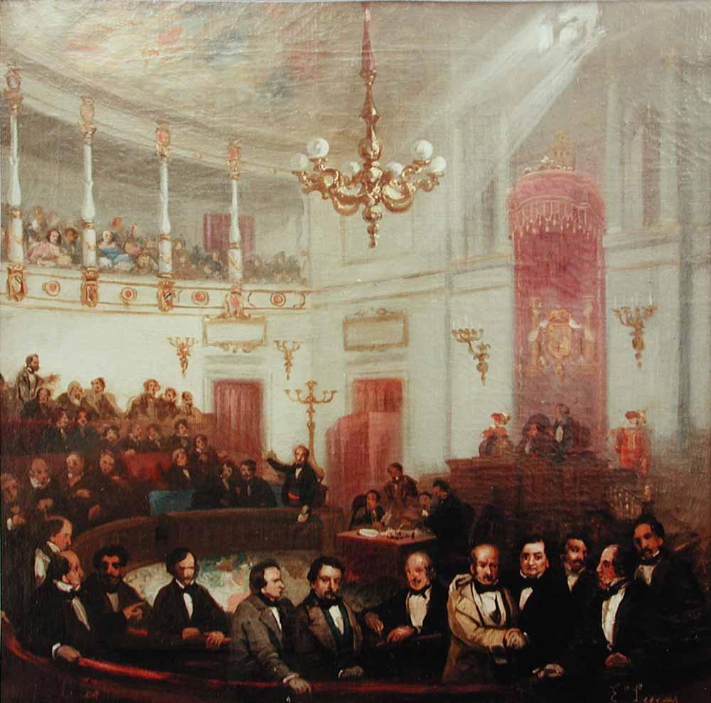 El lienzo representa el desarrollo de un acto parlamentario en el Salón de Sesiones del Congreso de los Diputados de España a mediados del siglo XIX, por Eugenio Lucas Velázquez, 1854-1855, Palacio de las Cortes.