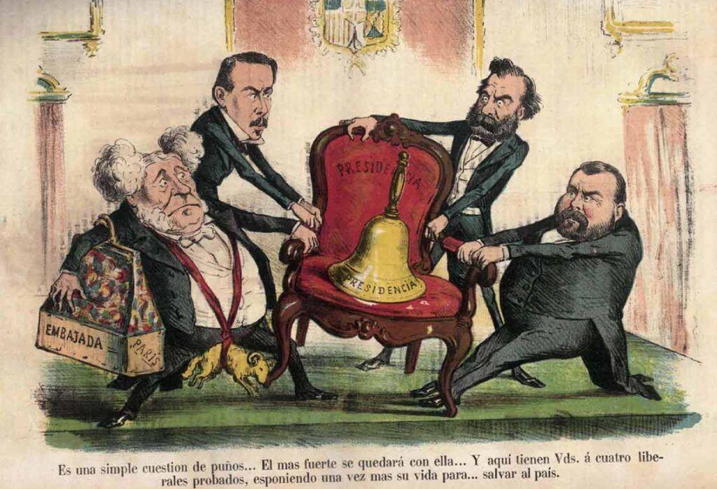 """""""Es una simple cuestión de puños... El más fuerte se quedará con ella..."""". Viñeta de la revista La Flaca, publicada en marzo de 1871."""