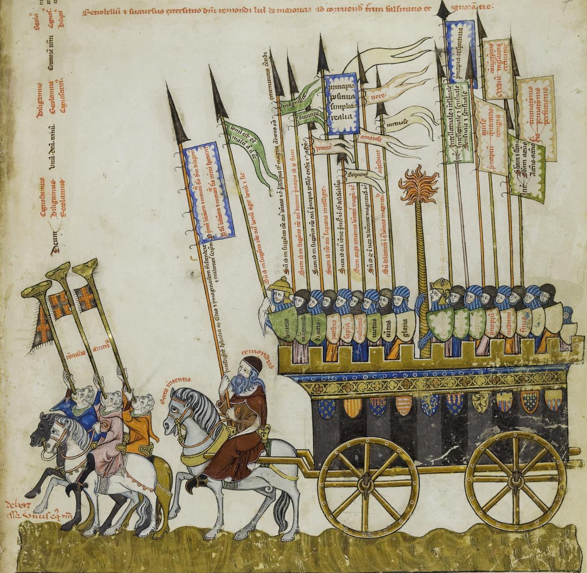 Aristóteles, Averroes y Llull, en defensa de la verdad, Tomas Le Myésier, Breviculum ex artibus Raimundi Lulli electum, h. 1321, Karlsruhe, Badische Landesbibliothek, Cod. St. Peter, perg. 92.