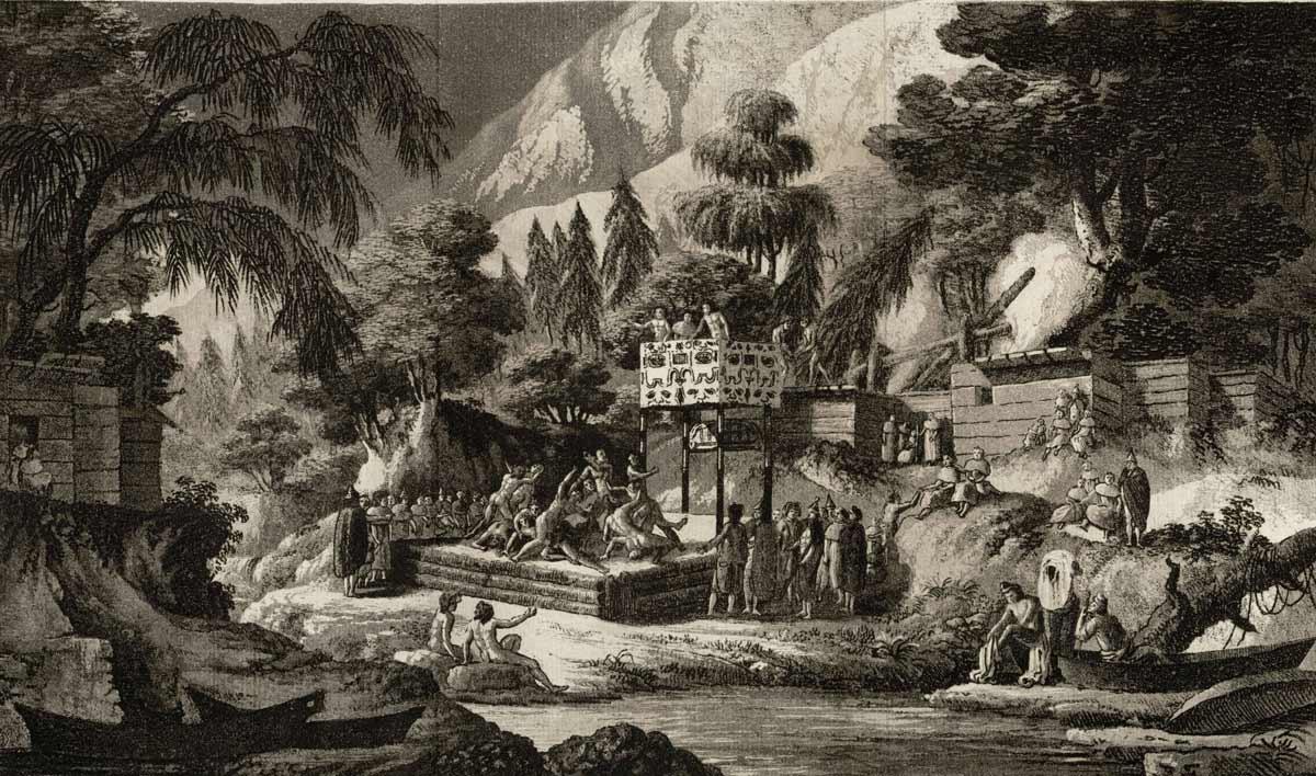 Fiesta celebrada en Nutka por Macuina, siglo XVIII, pluma y aguada en tinta china, Fernando Brambila (1763-1832), Museo de América (Madrid)