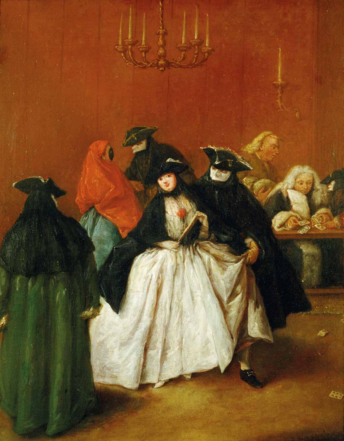 Escena de una fiesta privada en carnaval, en un Ridotto, donde se practican juegos de azar. Por Pietro Longhi (1701-1785), pintor costumbrista que reflejó con brillantez la vida cotidiana de Venecia en el siglo XVIII.